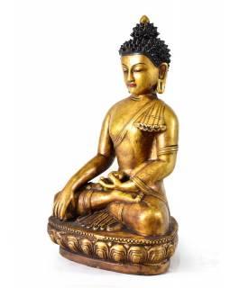 Buddha,Šákyamuni, zlatý, keramická socha, ruční práce, 32cm