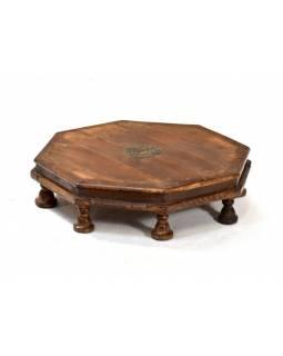 Čajový stolek zdobený mosazným kováním, osmiboký, 70x70x18cm
