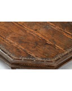 Čajový osmiboký stolek zdobený mosazným kováním, mangové dřevo, 72x72x17cm