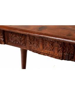 Psací stůl z antik teakového dřeva zdobený řezbami, 107x53x73cm