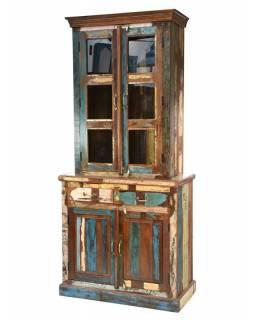 """Dvoudílná skříň v """"Goa"""" stylu, vršek prosklený, 95x48x210cm"""
