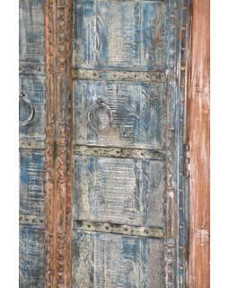 Skříň z teakového dřeva, antik, tyrkysová, 92x45x178cm