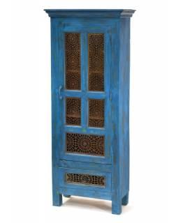 Prosklená skříň, teak, tyrkysová patina, kovové prosklení, 90x60x152cm