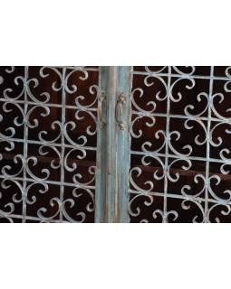 Skříň z antik teakového dřeva, železná mříž bez skla, tyrkysová, 97x42x126cm
