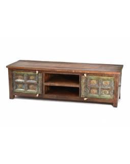 Komoda z antik teakového dřeva, železné kování, 171x43x52cm