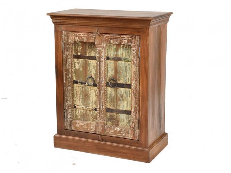 Komoda z antik teakového dřeva, dvířka ze starých okenic, 81x42x102cm