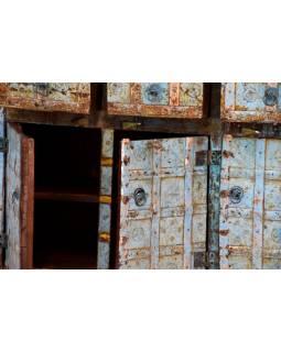 Komoda z antik teakového dřeva s železným kováním, 152x40x94cm