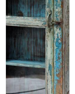 Prosklená skříňka z antik teakového dřeva, 46x15x100cm