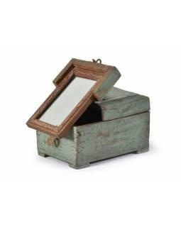 Šperkovnice se zrcadlem z antik teakového dřeva, 18x14x12cm
