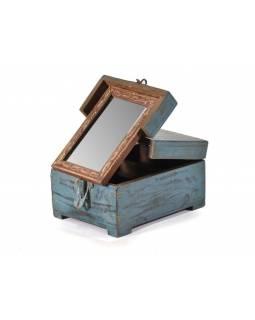 Šperkovnice se zrcadlem z antik teakového dřeva, 21x16x12cm