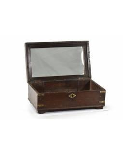 Šperkovnice se zrcadlem z antik teakového dřeva, 27x15x12cm