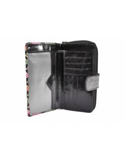"""Peněženka design """"Net Flowers"""", malovaná kůže, černá, 18x10cm"""