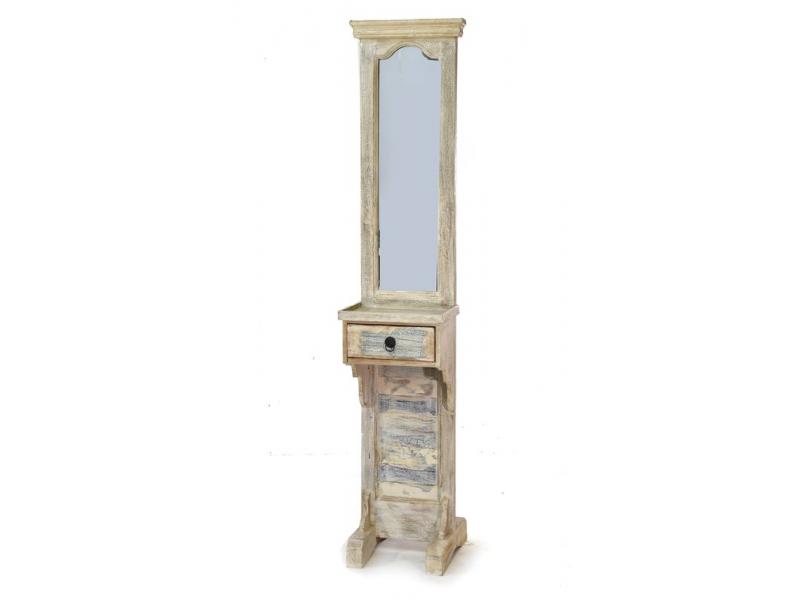 Zrcadlo v rámu na stojanu, šuplík, antik teak, bílá patina, 45x35x185cm