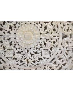 Ručně vyřezaná mandala z teakového dřeva, bílá patina, 148x148x5cm
