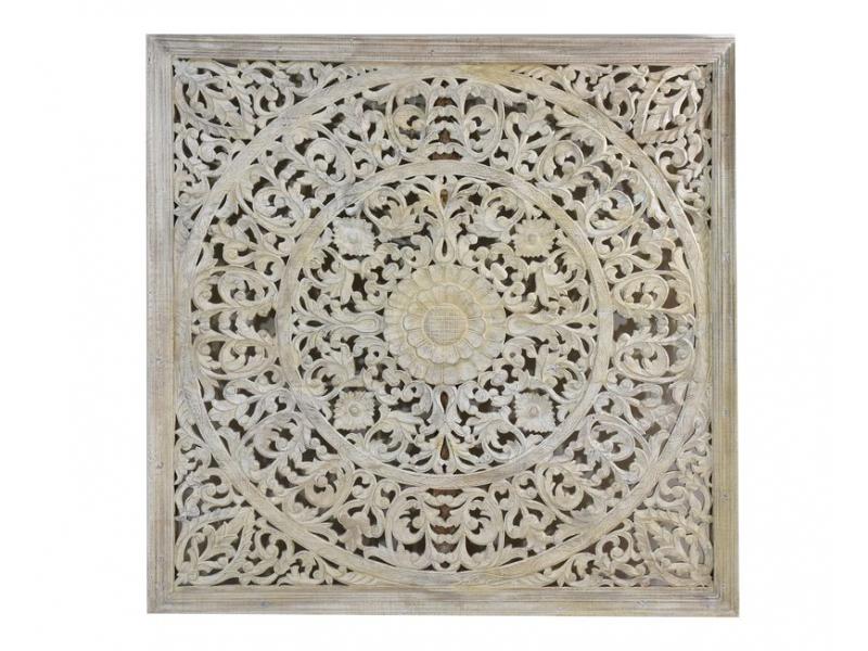 Ručně vyřezaná mandala z mangového dřeva, bílá patina, 148x148x5cm