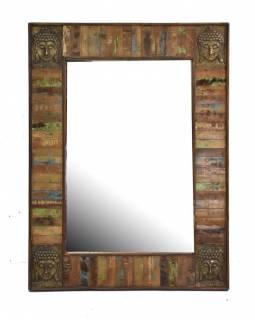 Zrcadlo v rámu, antik teak, kování hlavy Buddhy, 90x120x5cm
