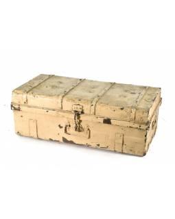 Plechový kufr, antik, bílý, 77x40x30cm