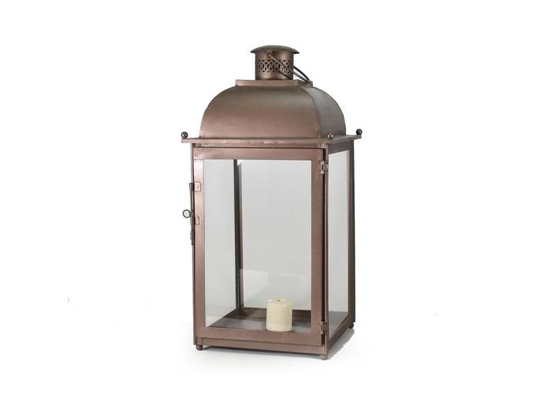 Kovová lucerna, šedohnědá metalíza, 32x32x61cm