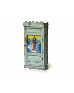 Prosklená skříňka z antik teakového dřeva, 44x18x90cm