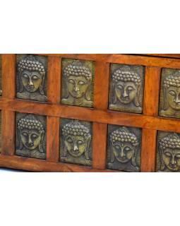 Lavice z palisandrového dřeva zdobená reliefy buddhů, 128x55x85cm