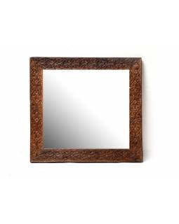Zrcadlo ve vyřezávaném rámu z antik teaku, detailní práce, 80x83x4cm