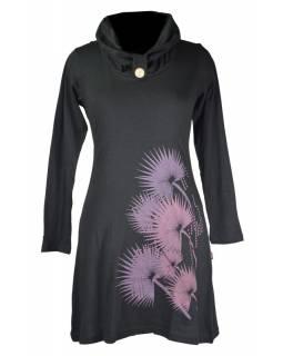 Krátké černé šaty s dlouhým rukávem a límcem, potisk Thistle design