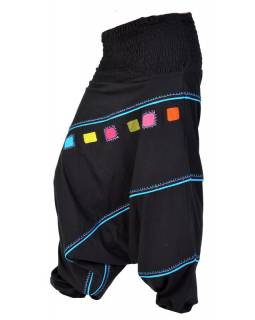 Turecké kalhoty, dlouhé, černo-modré, čtvercový design, žabičkování