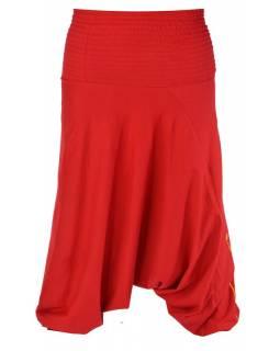 Turecké kalhoty, dlouhé, červené, kruhový design, žabičkování