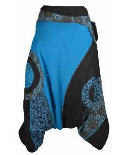 Dlouhé turecké kalhoty, černo-tyrkysové, Steampunk design, opasek s kapsou, zip