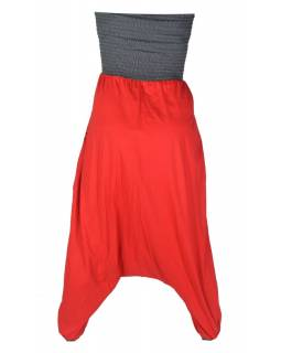 Turecké kalhoty, dlouhé, červeno-šedé, šedá výšivka