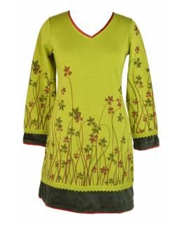 Krátké zateplené šaty s dlouhým rukávem, zelené s vínovým tiskem listů