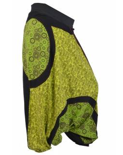 Dlouhé turecké kalhoty, černo-zelené, mix tisků a výšivka, pružný pas