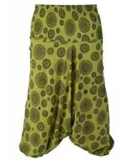 Zelené turecké kalhoty s celopotiskem mandal, bobbin