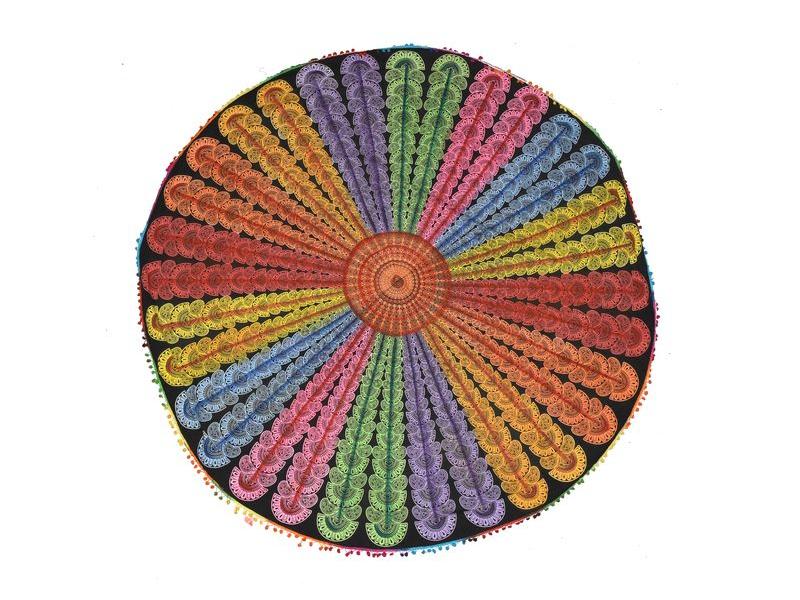 Bavlněný kulatý přehoz s mandalou, multibarevný, 190 cm