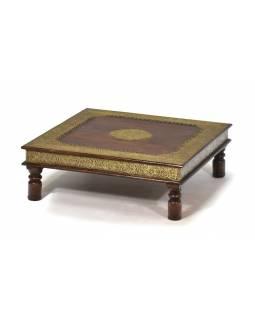 Čajový stolek z palisandru, mosazné kování, 60x60x20cm