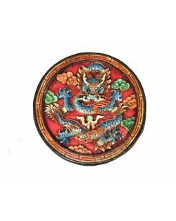 Tibetský drak, malovaný dřevěný panel, ručně vyřezávaný, 30cm