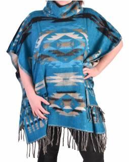 Krátké vzorované pončo s límcem, vzor aztec, barva tyrkysová
