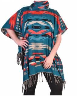 Krátké vzorované pončo s límcem, vzor aztec, barva smaragdově zelené