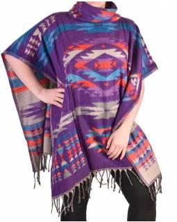 Krátké vzorované pončo s límcem, vzor aztec, barva fialová