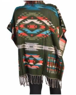 Krátké vzorované pončo s límcem, vzor aztec, barva černá