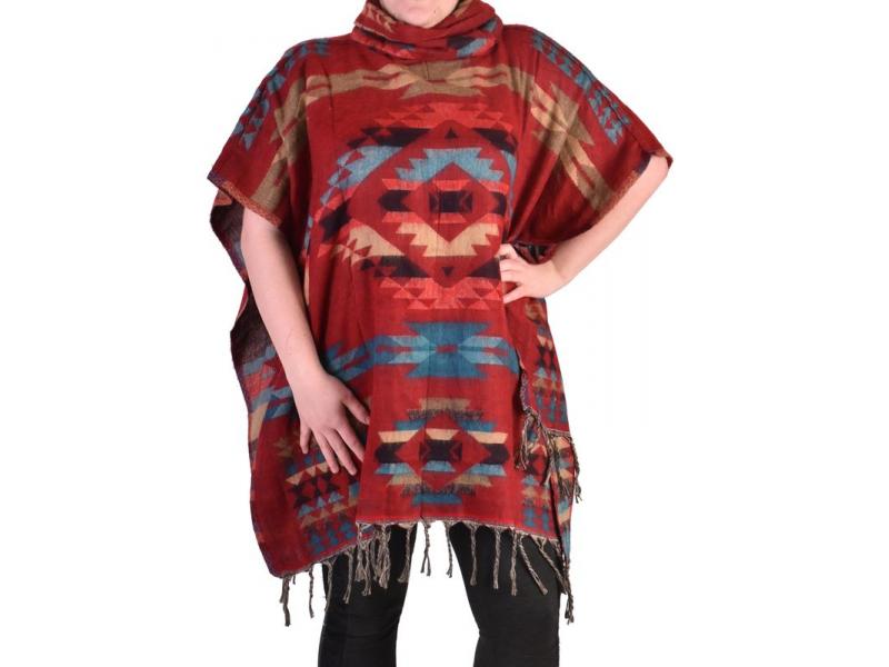 Krátké vzorované pončo s límcem, vzor aztec, barva červená