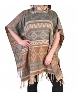 Krátké vzorované pončo s límcem, vzor aztec, barva krémová