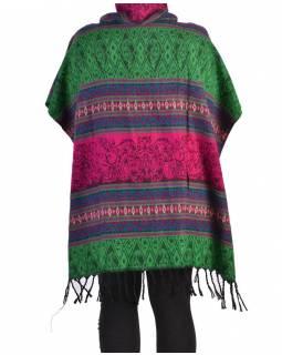 Krátké vzorované pončo s límcem, vzor stripe ornament, barva růžovo-zelená