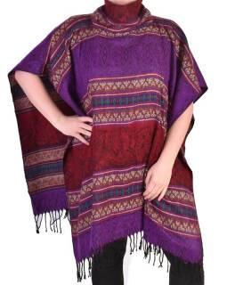 Krátké vzorované pončo s límcem, vzor stripe ornament, barva fialová
