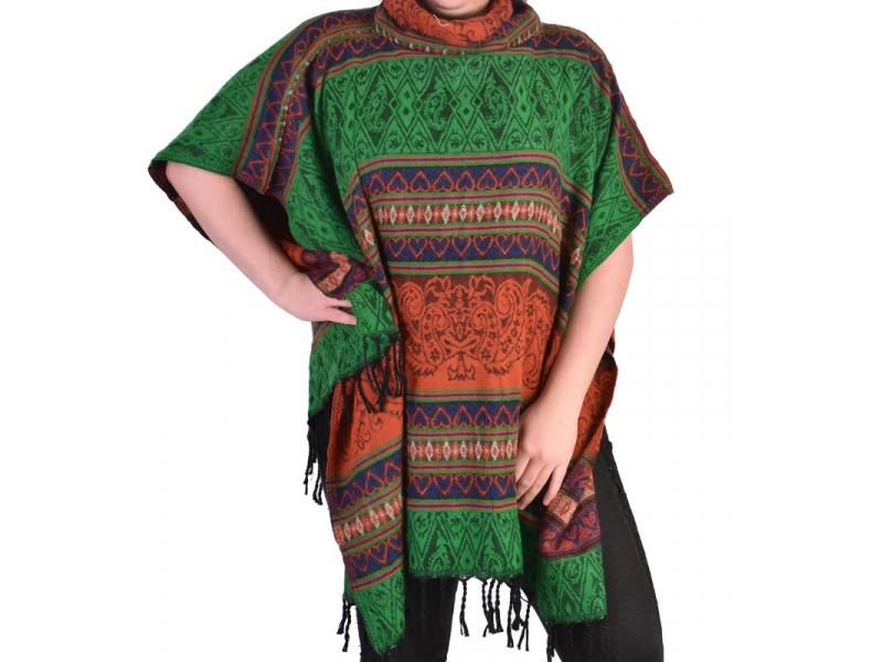 Krátké vzorované pončo s límcem, vzor stripe ornament, barva červeno-zelená