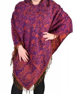 Krátké vzorované pončo s límcem, vzor paisley, barva fialová