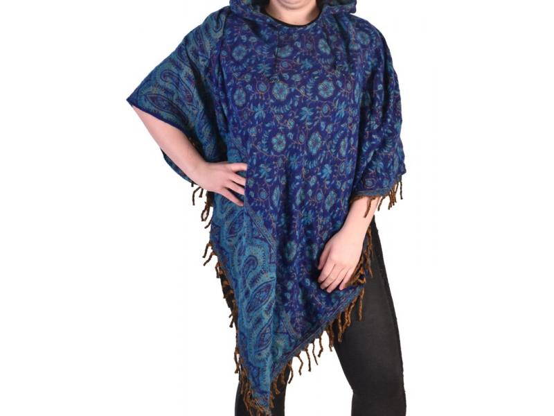 Krátké vzorované pončo s límcem, vzor paisley, barva tmavě modrá