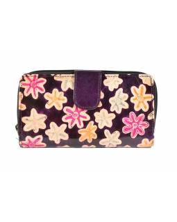 """Peněženka design """"Small Flower"""", ručně malovaná kůže, fialová, 18x10cm"""