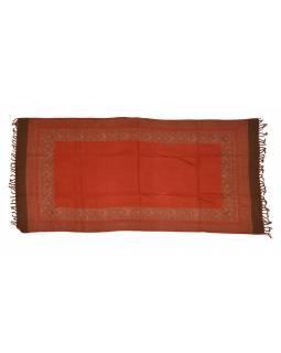 Šál s kašmírským vzorem po stranách, hnědočervený,100x200cm