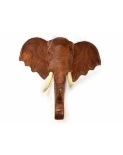 Hlava slona z masivního dřeva, dřevěné kly, 84x30x90cm